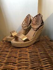 Rose Gold Metallic Wedge Heel Sandals