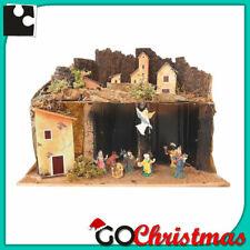 Presepe di Natale Artigianale Napoletano in legno sughero con luci Completo 40cm