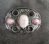 Vintage Silvertone Celtic Scottish Inspired pink faux Agate oval Brooch