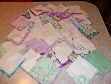 35 Vtg Womens Hankies Crocheted Edges Green Blue Lavender