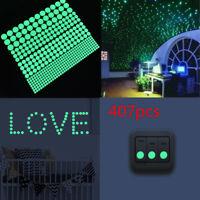 407pcs Glow In The Dark Round Dot Wall Stickers Wall Decor Sticker KIDS Room