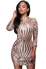 Plus Size Clubwear 2X Pink Champagne Sequin Scoop Back Mini Dress SEXY Sz 12 14