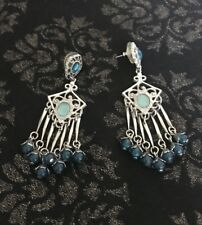 1928 Jewelry Aqua Chandelier Earrings Silver Tone Dangle Earrings