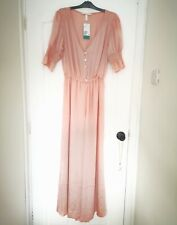 H&M Powder Pink Satin Maxi Jumpsuit with Frill size M 12 14 RRP £39.99