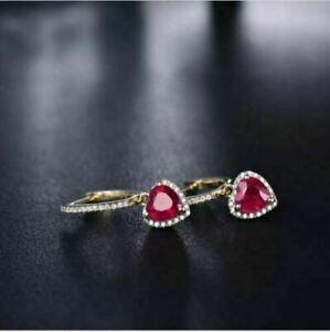 3Ct Heart Shape Pink Ruby Women's Drop & Dangle Earrings 14K Yellow Gold Finish