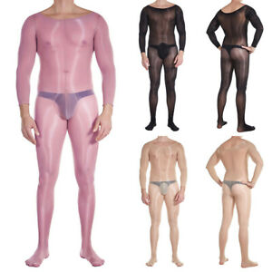 Herren 8D Transparent Body Stockings Mit Pouch Overall Catsuit Bodysuit Playsuit
