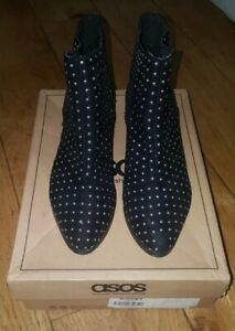 VGC BOXED WOMENS ASOS REON FAUX SUEDE STUDDED CHELSEA ANKLE BOOTS UK SIZE 3 / 36