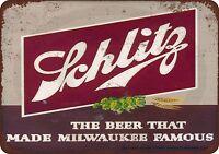 """1947 Schlitz Beer Rustic Retro Metal Sign 8"""" x 12"""""""