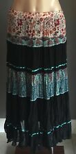 "As New Boho Vibe MISS ANNE Multi Colour Pleated ""Crinkle"" Tier Maxi Skirt Size 8"