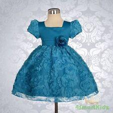 Baby Blue Embossed Flower Girl Dresses up Wedding Party Infant Size 0 Fg159