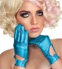 Adult Music Pop Rock Singer Lady Gaga Gloves Gants Electric Blue Costume Gloves