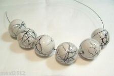 Bna159g: 10 x blanc / noir perles acrylique rond 16mm