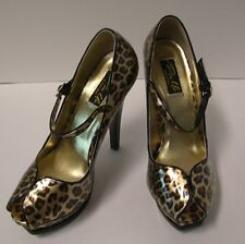Pin Up Couture Pleasure Peep Toe Heels Size 7  Cheetah Gold Patent Pinup
