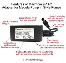 Maymom 9V AC adapter for Medela Pump In Style Advanced, Traveler, or Companion