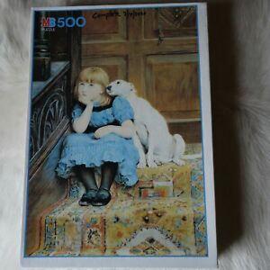 MB Jigsaw Puzzle 500 pieces VINTAGE Sympathy 1989 Briton Riviere GIRL Dog Art