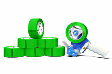 "6 Rolls Green Color Packing Tape 2 Mil 48mm x 50m + 2"" Tape Gun Dispenser"