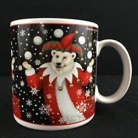 Vintage Christmas Mug by Sakura Bear Santas Snowflakes Stephanie Stouffer