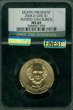 2008-D MARTIN VAN BUREN PRES. DOLLAR NGC MS69 SMS MAC FINEST POP-9 MAC SPOTLESS*