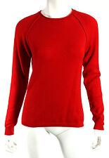 JIL SANDER Bright Red 100% Cashmere Knit Crewneck Sweater 38