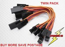 2 x 10cm Servo Extension lead JR - high grade 26 awg wire - UK