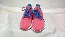 Adidas-Women's Pink/Blue/White Cloudfoam Mesh Running Shoes-Size 5