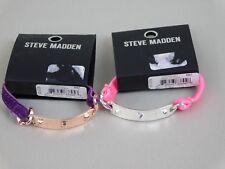 Steve Madden - 2 Stretch Bracelets with Metal Spike Bars - Purple, Pink #1506