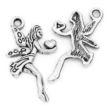 "HELLO 50  Charm Pendants Angel Silver  24mmx13mm(1""x4/8"")"