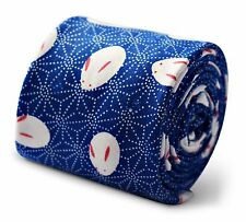 Frederick Thomas mens 100% cotton tie in royal blue with rabbit print FT3369