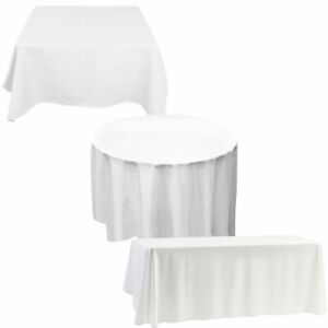 Banqueting Polyester table cloths. Ivory  11ft diameter. (132 inches)