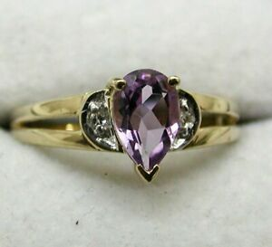 Lovely 9 carat Gold Pear Shaped Amethyst And White Topaz Ring Size N