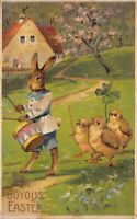 Easter Postcard Dressed Bunny Rabbit Playing Drum Chicks Four Leaf Clover~124238