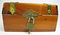 Vintage Cedar Wood Treasure Chest Trinket Jewelry Box Handmade Walsco Lock Key