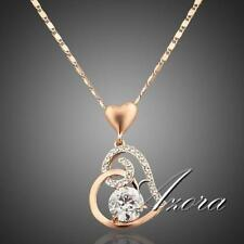 Womens Crystal Necklace Chain Heart Shaped Pendant 18K Rose Gold Plated