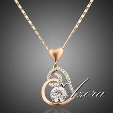 Necklace Crystal 18K Rose Gold Plated Women Love Heart Shape Chain Pendant