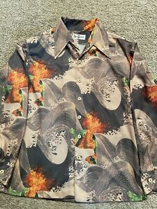 Vtg Alan Stuart bold print  mens L shirt 100% polyester