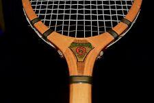 PRISTINE Vintage Wood 1930s Sharon KING Tennis Racket w/ Original Leather Grip