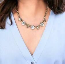 N994 Forever 21 Pearl Flower Brides Gemstone Crystal Wedding Chain Necklace US