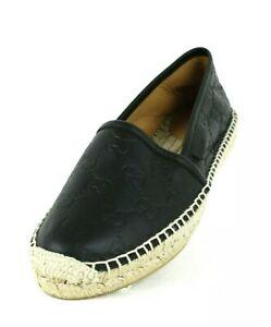 GUCCI Black Soft Leather Espadrilles MicroGuccdssima  Rubber Sole Flats Women 38