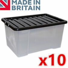10 x 50L 50 Litre Large Plastic Storage Clear Box Strong Stackable Container New
