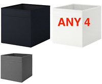 Set of ANY 4 IKEA DRONA Storage Boxes For Kallax | Black, White or Grey Mix