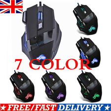 Gaming  Mouse Set Rainbow LED Wired USB For PC Laptop PS4 Xbox One 360 UK