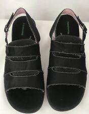 23f65576db964 Grasshoppers Womens Black White Stitch Canvas Fabric Sandals Shoes 10M