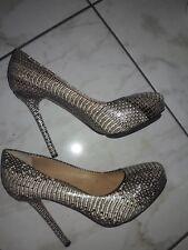 L. A. M. B. Python Embossed Leather Hidden Platform Pump Heels Shoes Sz 8.5 M