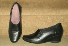 WOMENS CLARKS EVERYDAY WEDGE HEEL LEATHER COMFORT SHOES Sz 10 M PRE-OWNED