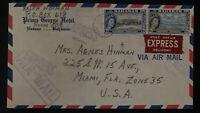 1954 Nassau Bahamas Express Airmail Cover to Miami FL USA