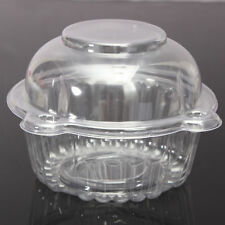 Hot 25pcs Individual Clear Plastic Single Cup Cake Muffin Case Pods Domes Boxes
