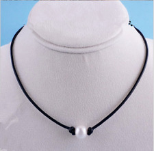 New Pearl Dermis Leather Choker Simulated Pearl Handmade Leather Necklace