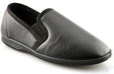 Mens Slippers Boxed Slip On Faux Leather Twin Gusset Shoes Size