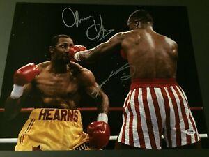 Sugar Ray Leonard & Thomas Hearns Dual Autographed 16x20 Photo - PSA