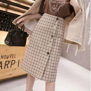 Women Plaid A-Line Slim All-match High Waist Mini Skirt Formal Work Wear